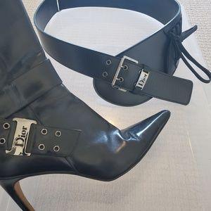 Dior Accessories - Christian Dior black leather wide belt Vintage